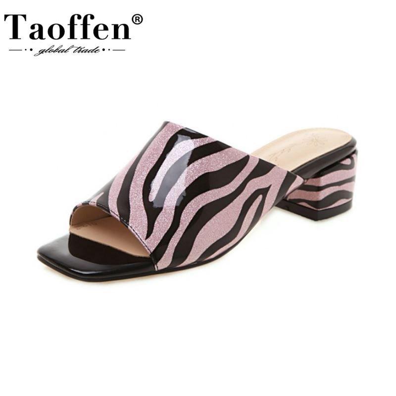Taoffen Donna Sandali Moda Zebra Stampa pantofole quadrati signore Tacchi Scarpe Donna Moderna Peep Toe Casual Taglia Calzature 33-43