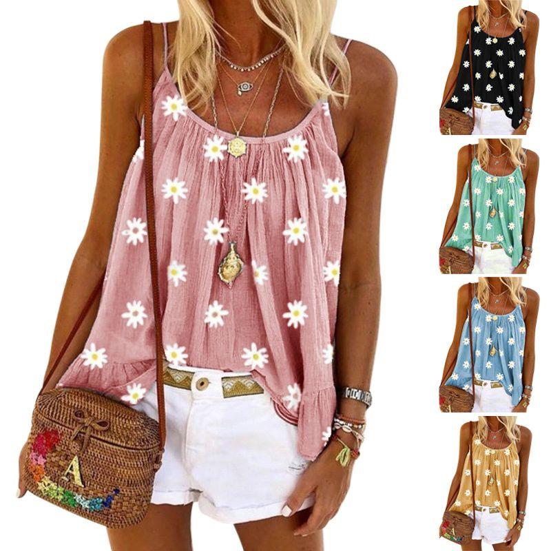 المرأة الصيف الدبابات كاميس التطريز الصدرية الصغيرة ديزي طباعة قمصان جولة الرقبة بروتيل بلايز وصول جديدة