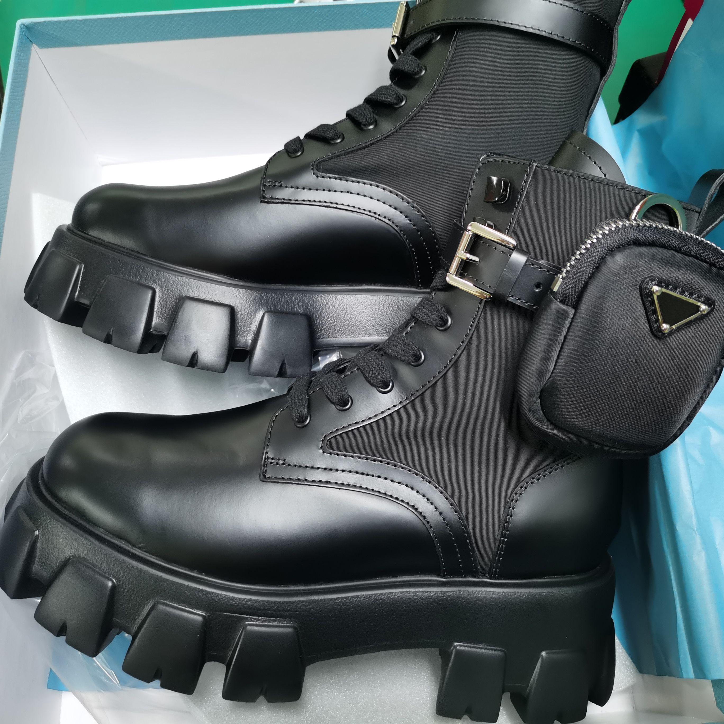 2020 Rois Stiefel Nylon Derby Knöchel Martin Stiefel Frauen Kampflederschuhe Combat Boots Schwarz Gummisohle Plattform-Schuhe Nylontasche mit dem Kasten