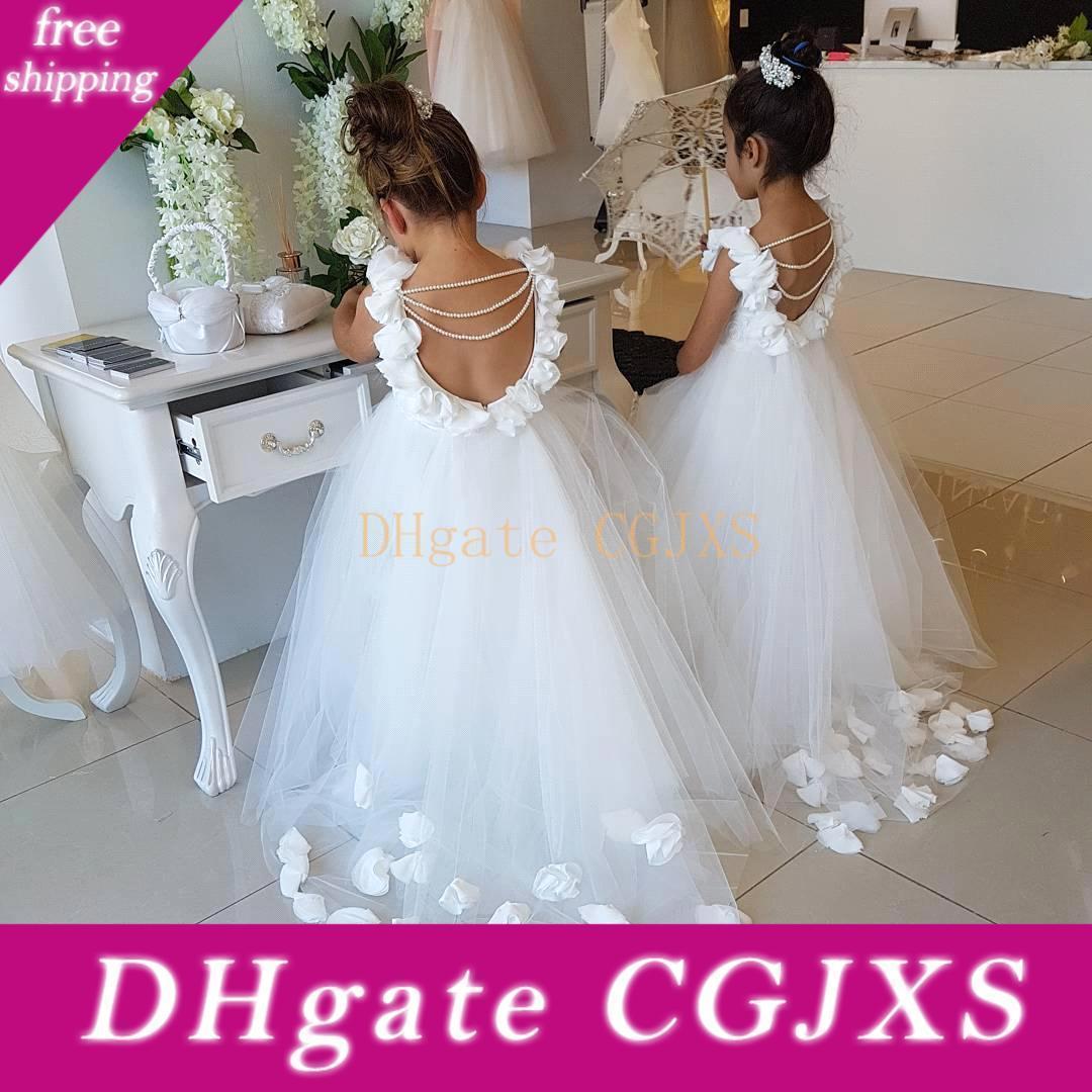Bianco Principessa ragazze di fiori Vestiti da matrimonio Perle Liste Backless festa di compleanno vestito della prima comunione Pageant Abiti Ba9835