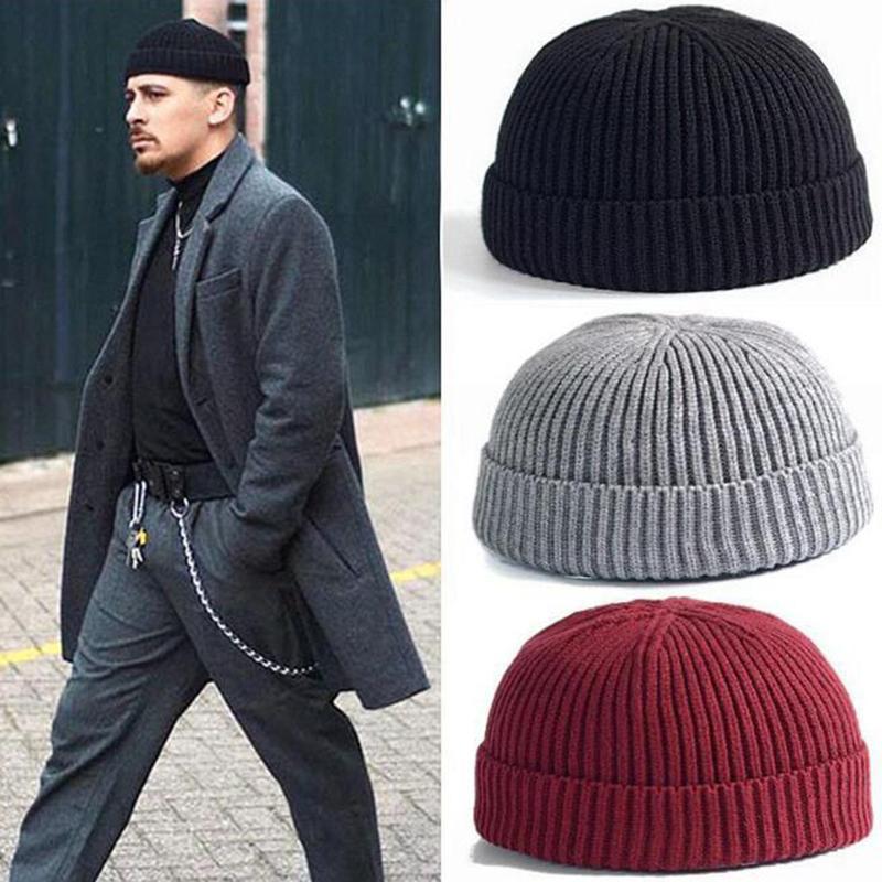 Homens New Docker Cap Hat Inverno Para Quente malha Brimless Cap Beanie Homens Skullcap Unisex Sólidos Hip Mulher Cor Beanie Masculino Hop Hat
