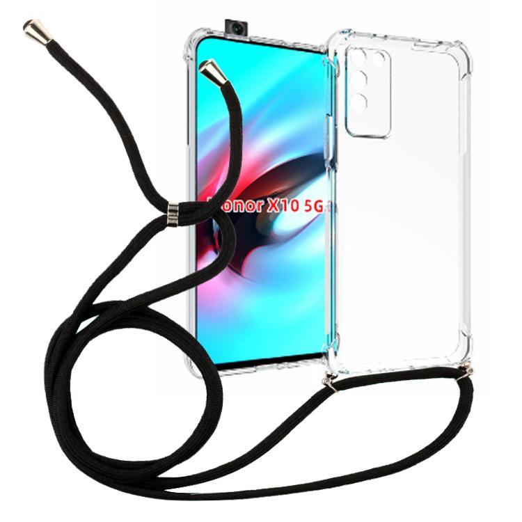 1.5mm сгущает прозрачная противоударного ожерелье Кроссбоди Lanyard ТП чехол для Huawei Honor Х10 5G крышка сотового телефона 160см веревки