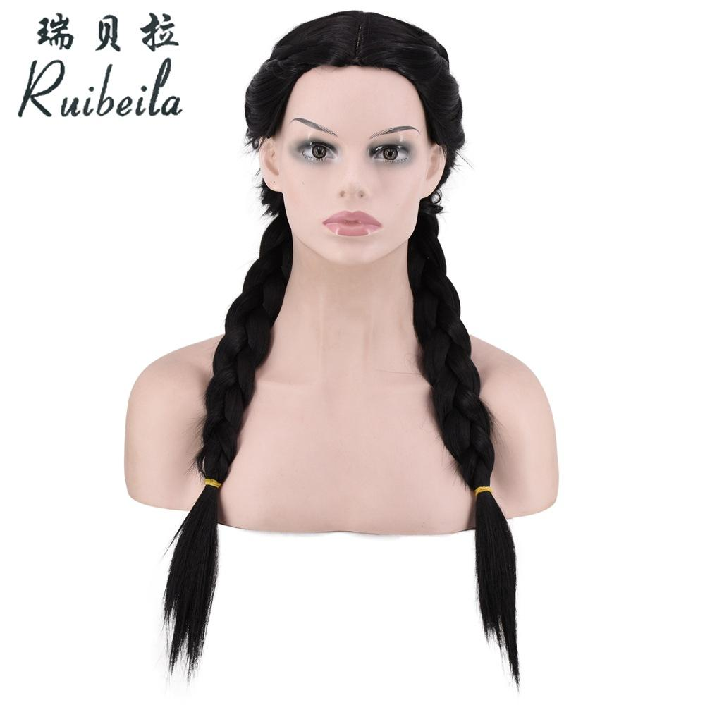 Wig European and American style black mid-point long hair hand-knitted twist braid wig large