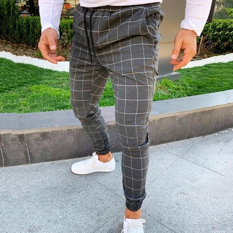 2020 atractivo Wasit alta pantalones del verano del resorte de los hombres ocasionales de bolsillo de la manera adelgazan la tela escocesa de pierna recta pantalones casuales lápiz del basculador
