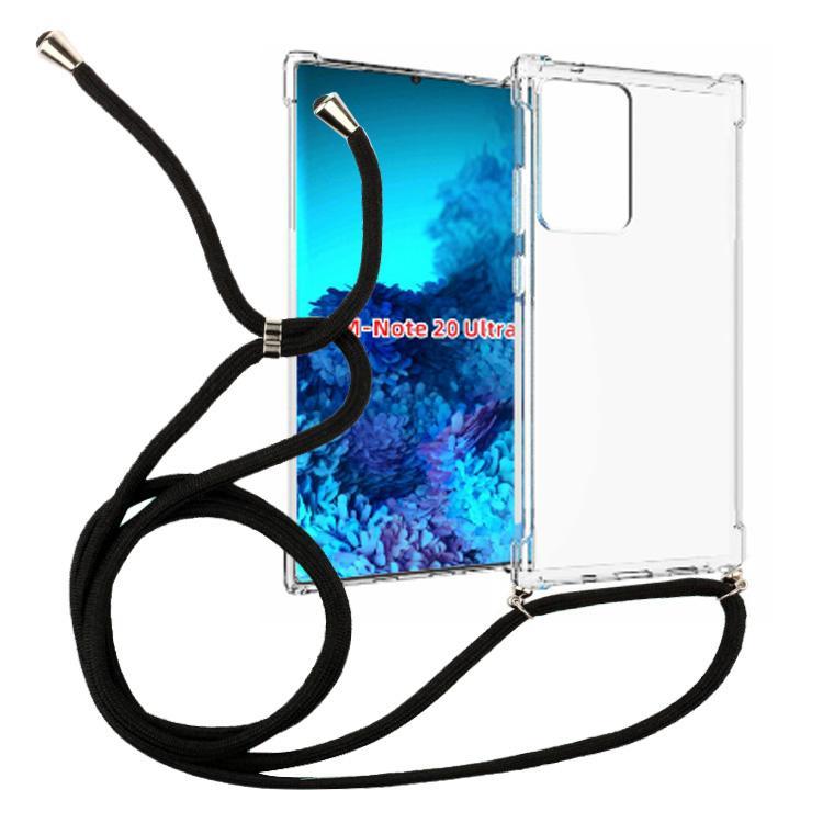 1,5mm Collier transparent Thicken antichocs crossbody Longe TPU pour Samsung note 20 Ultra couverture de téléphone portable corde 160mm
