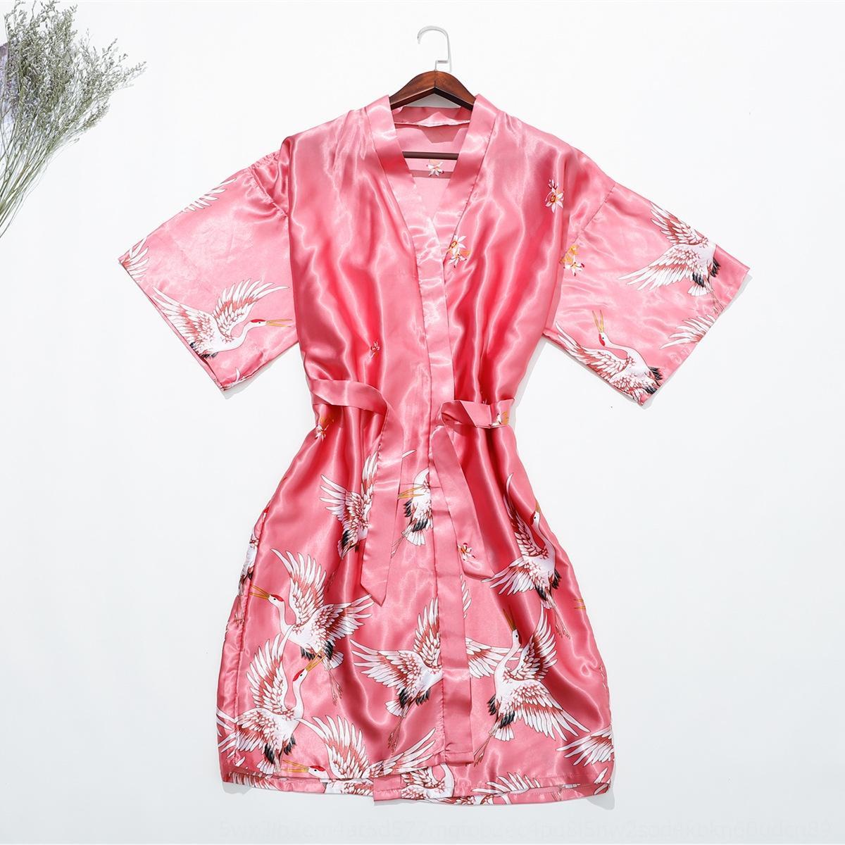 lxxn4 Nightgown Kran gedruckt Hauptpyjamas Pyjamas seidenähnliche einzelne Robe Braut Morgen Gewand zu Hause extra großes Nachthemd