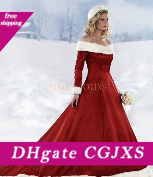 2017 Свадебные платья с длинными рукавами темно-красный Рождество платье с плеча атласная развертки Поезд зимы искусственного меха Bungurdy вышивки Свадебные платья
