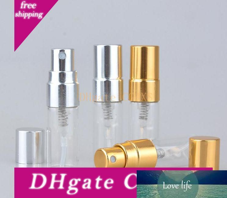 3ml Travel Refillable Glass Perfume Bottle With Uv Sprayer Cosmetic Pump Spray Atomizer Silver