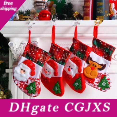 Regali di Natale calzini svegli riutilizzabile della renna della Santa Snowman Stampato Candy Red Bag Natale calzini decorazione di Natale del regalo del partito Wy135