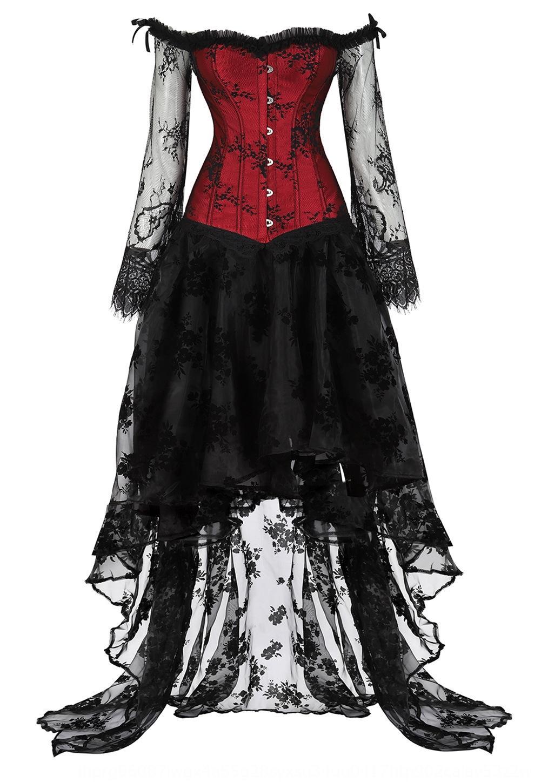 Pa balle Femmes épaule plat costume fendu manches longues corset de dentelle de Pa boule femmes fendue épaule costume plat corset en dentelle à manches longues