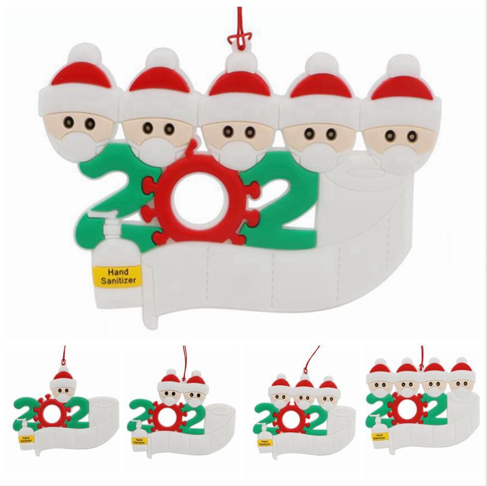 2020 sobrevivente ornamento personalizado do Natal Família 1-5 Detalhes no Masked mão-lavados Xmas Tree pendurado pingente TRANSPORTE MARÍTIMO LJJP578