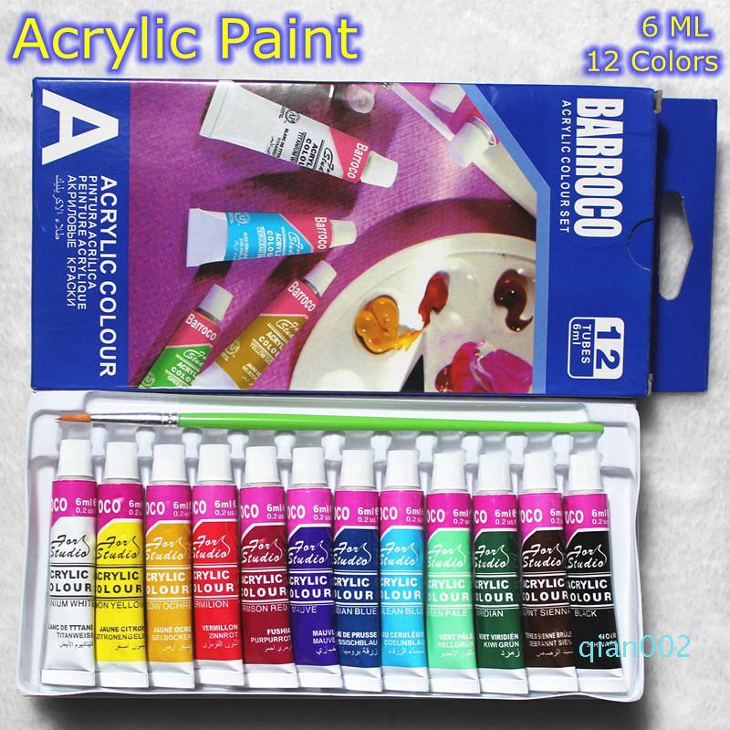 6ML 12COLORS الفنية دهانات أكريليك مجموعة من ناحية رسم اللوحة جدار النسيج الطلاء الزاهية الملونة الفن مستلزمات الفرشاة الحرة