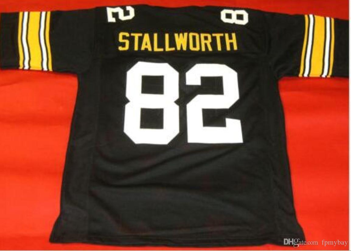 Özel Erkekler Gençlik kadınlar herhangi bir ad veya numara forması özel Vintage ÖZEL # 82 JOHN Stallworth SİYAH Futbol Jersey boyutu s-5XL veya