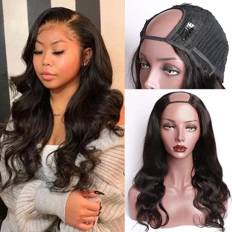 U جزء الباروكة الجسم موجة شعر الإنسان الباروكات للنساء البرازيلي ريمي الشعر يمكن سمم صبغ شحن مجاني شعر مستعار موجة الجسم