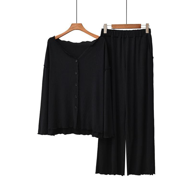 Kadınlar Pijama Takımı Sonbahar Yeni Bayanlar Pijama Takımı Konfor Katı Renk Kadınlar Seksi V-Yaka Homewear Yüksek Kalite
