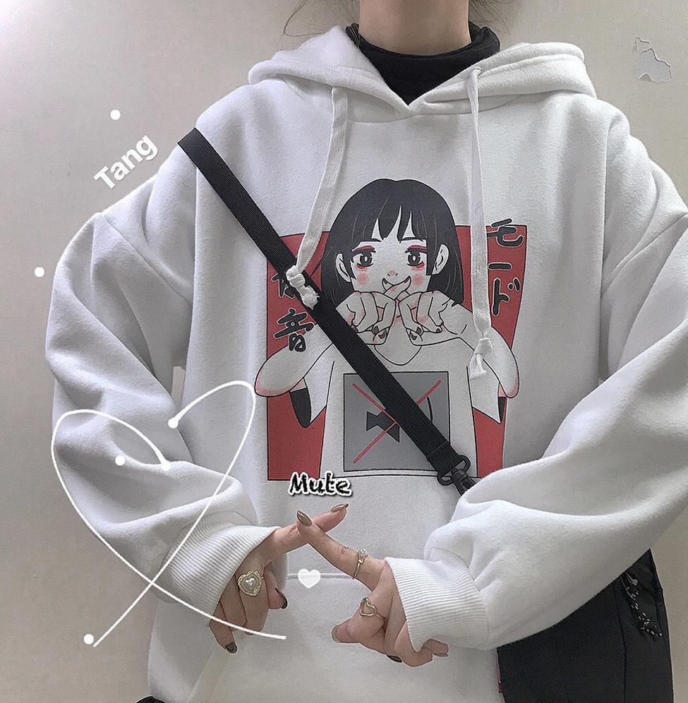 2020 sudadera con capucha de moda para las mujeres Ropa coreana Ulzzang Harajuku Streetwear manga larga con capucha Sudaderas Mujer Top MX200812