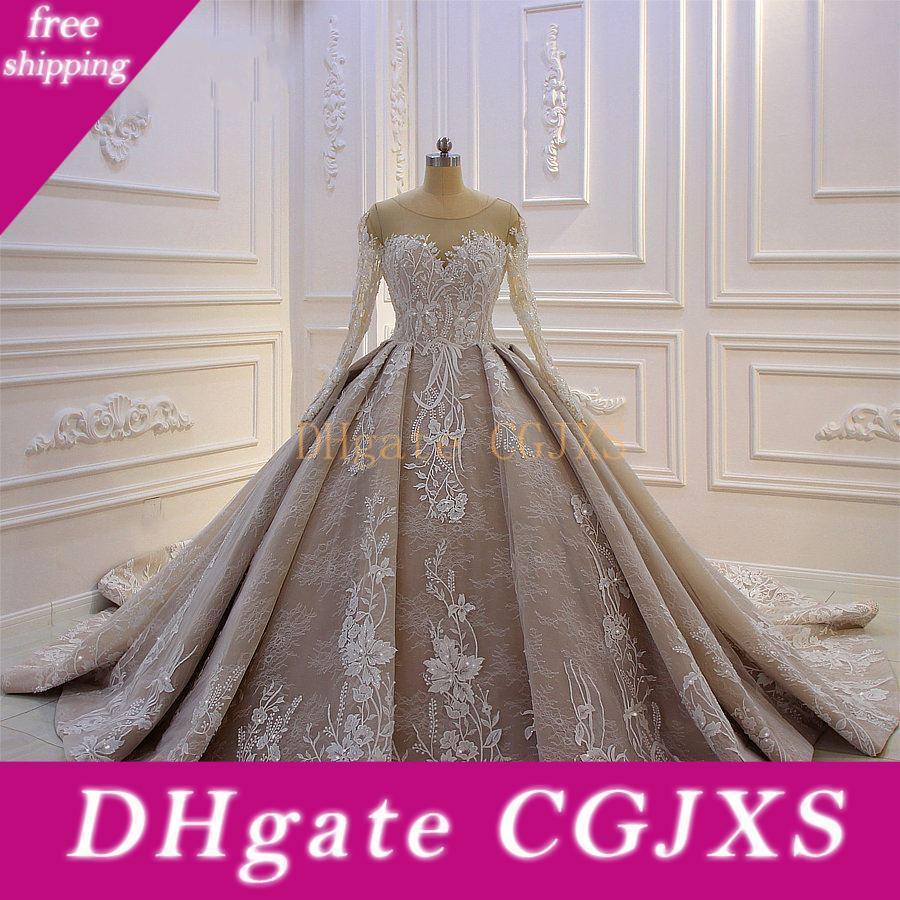 Sexy luxe arabe bal robe de mariage Dubaï Champagne manches longues en dentelle Appliqued Vintage Taille Plus mariage Robe de mariée Robes