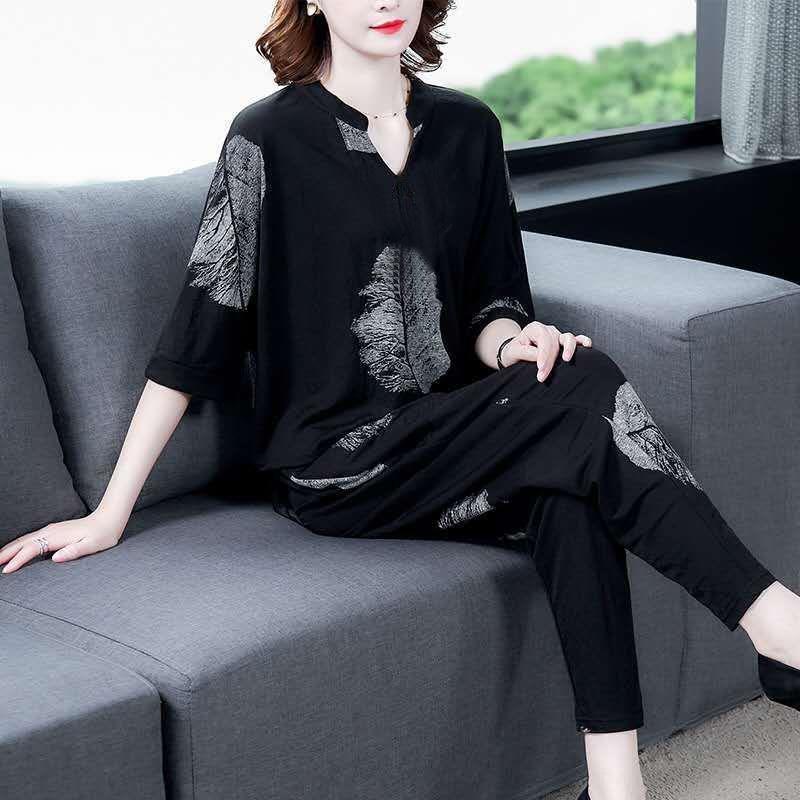 U8W7s traje de verano 2020 nuevo traje de Corea elegante adelgazamiento amplia Señora de dos piezas del estilo del verano de los pantalones ocasionales de la manera elegante harem de las mujeres
