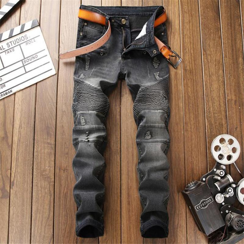 jeans macho nova moda motociclista calças de brim homens negros, homens Calças da moda em linha reta calças de designer de alta qualidade