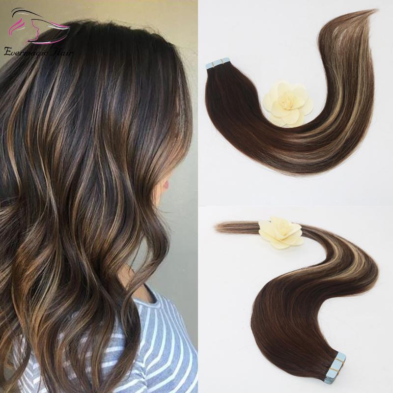 20pcs Evermagic 50g di due toni di colore # 3 Dissolvenza al # 24 Mixed Blonde di miele colorato Evidenziare Balayage senza saldatura nastro in estensioni dei capelli umani
