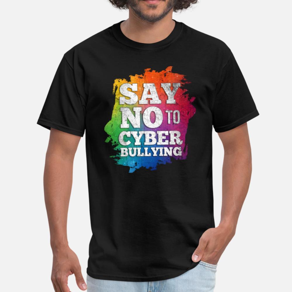 Say No To Mobbing über das Internet T-Shirt Männer gestrickten T-Shirt S-3XL Freizeit Grafik neue Art und Weise Frühlings-Natur-Hemd