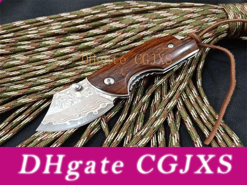 New Edc Couteau de poche Damscus lame en acier poignée en bois de rose Mini Petit Trousseau Couteaux pliants Liner Lock