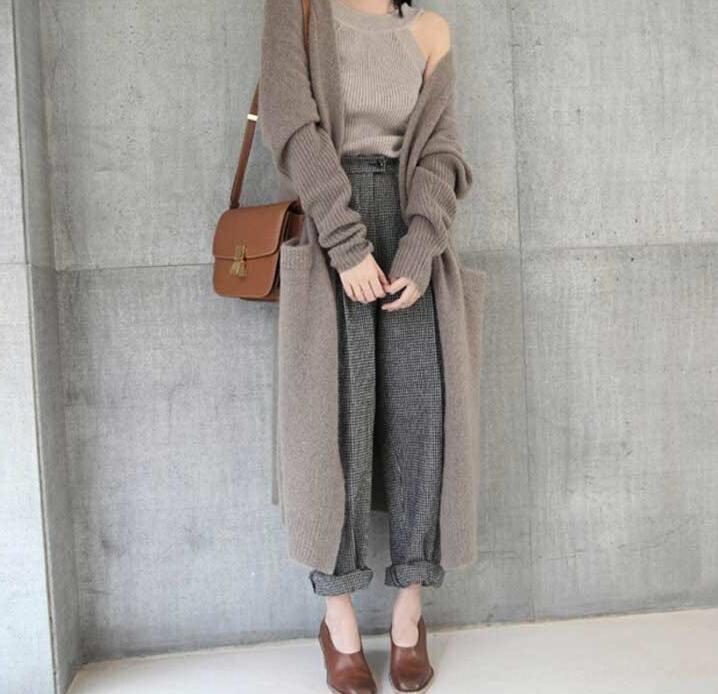 A media eslora suelta Corea del estilo de Yotgl Mujeres para el suéter de lana 2020 y del invierno cubre nueva lana mujeres giro gruesos exteriores de ajuste de la capa del otoño