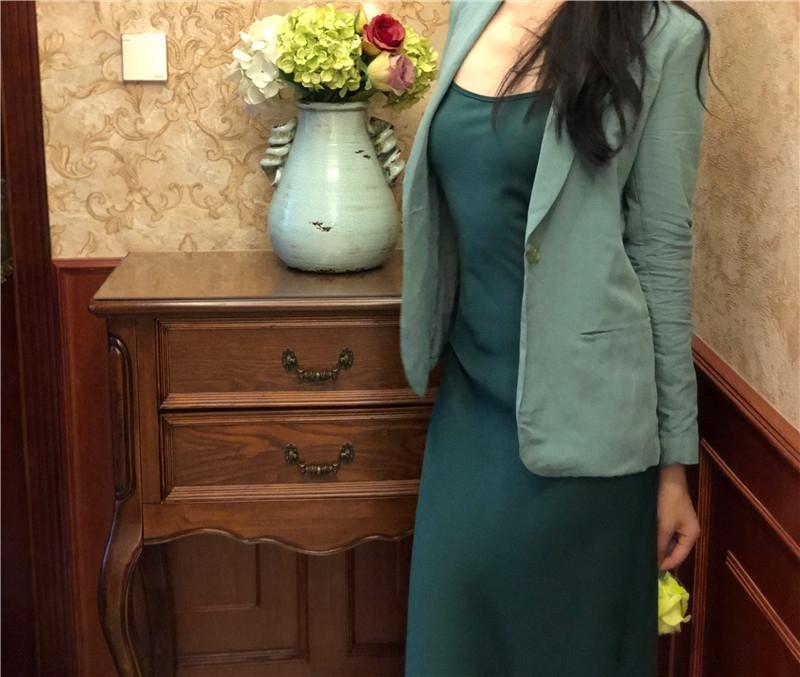 Gentle Morandi vestito verde blu e verde breve Gentle Morandi autunno cappotto corto azzurra e abito cappotto di autunno IIcit