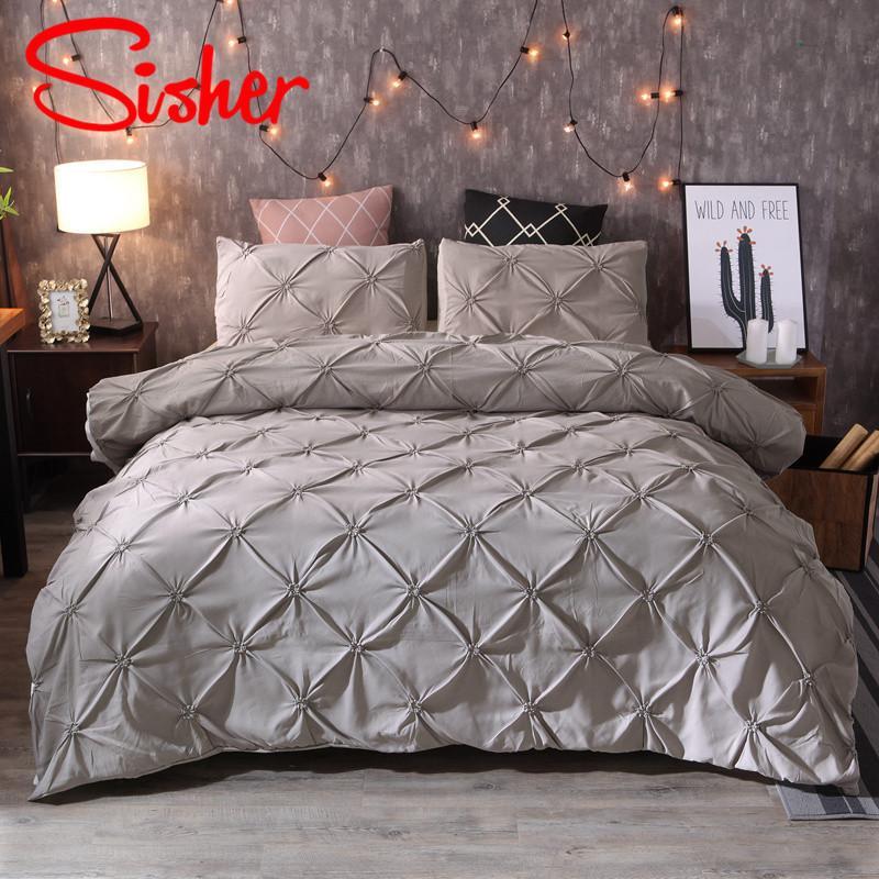 Copertine Sisher Luxury Classic Black White Duvet Pinch Pleat Imposta Bedding Set singolo Regina King Size poliestere cotone No lenzuolo T200814