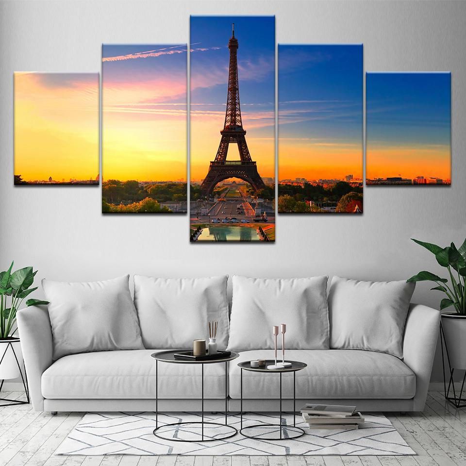 Canvas Wall Art Picture Frame Home Decor Room Poster 5 Pieces Paris Tower River sunset HD Printed Landscape Painting Artwork