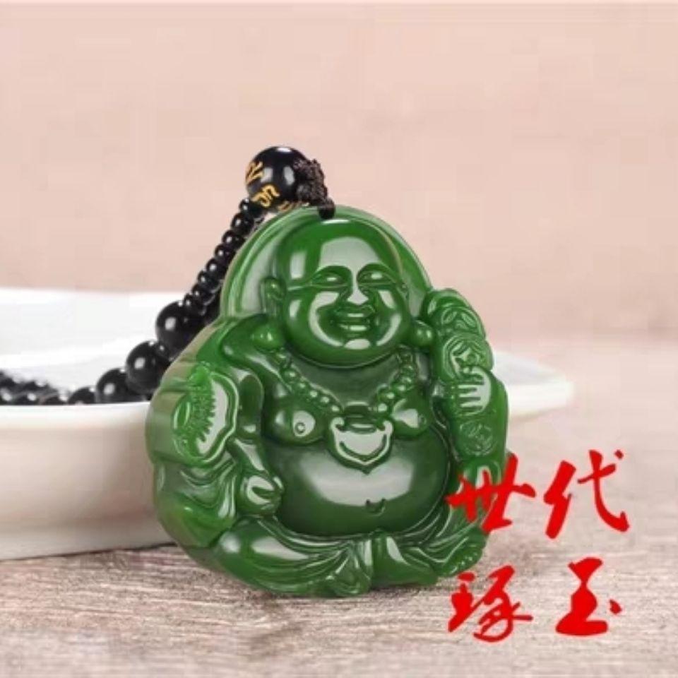 Belly Buda de Jade Pendant Hetian Jade Jasper Guanyin Buda de Jade Pendant Jasper Big Buddha colar de homens e mulheres que riem Penda