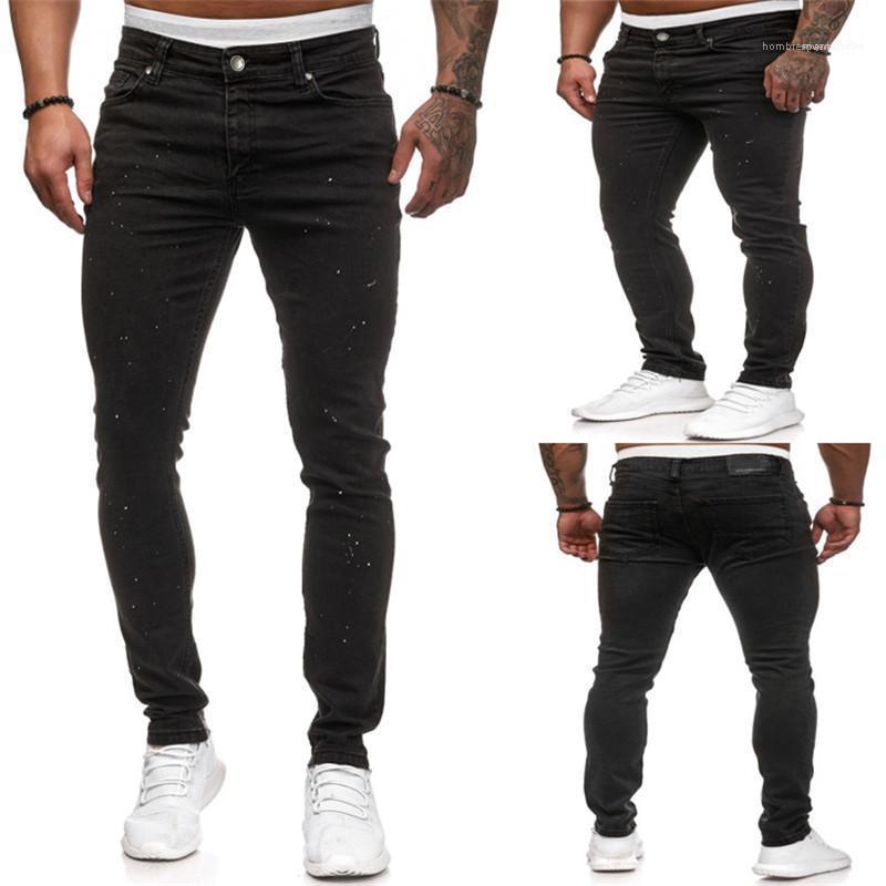 Bleistift-Hosen-beiläufige dünne Teenager mittlere Taillen Homme Hosen Herren Designer Jeans Black Stretch White Dot Long Men