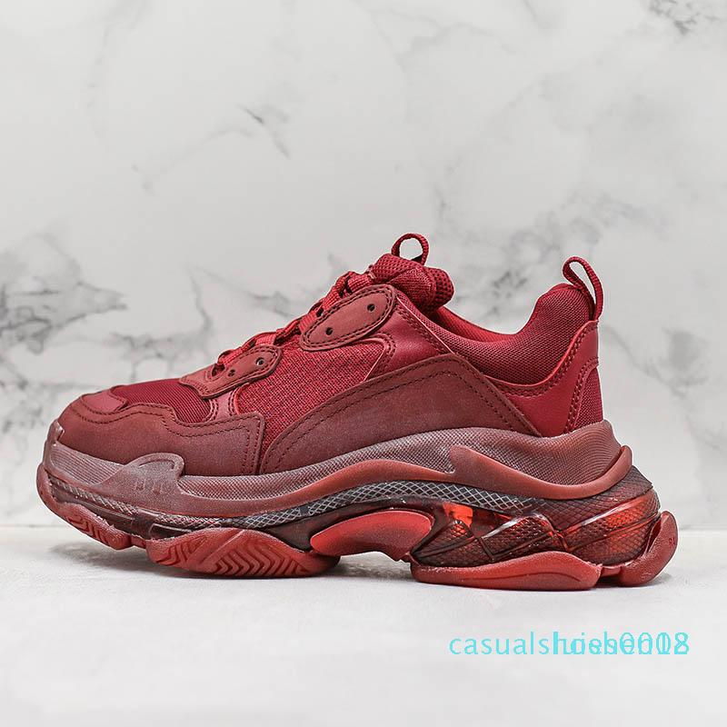 Luxe traccia 2 Triple S Parigi inferiore rosso vino rosso Pebble scarpe casual scarpe goffo Triple-S Low Donna Uomo Casual Designer Shoes c18