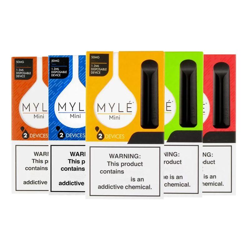 Myle 미니 일회용 전자 담배 장치 포드 스타터 키트 320Puffs 1.2ml 포드 vape 펜 빈 대 퍼프 바