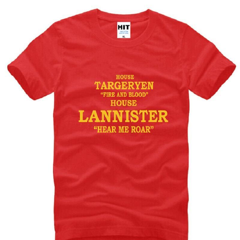 T-shirt magliette degli uomini cotone manica corta Casa Targaryen uomo fuoco e sangue Casa Lannister Tees Hear me ruggito