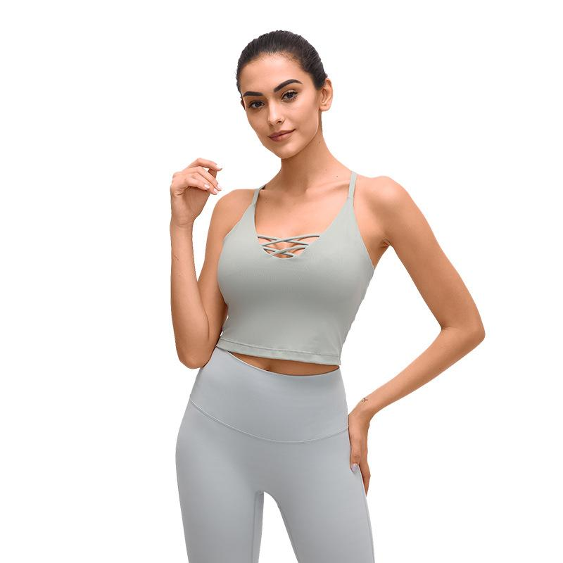 2020New Art Buttery-Soft Handfeel Yoga Top Bra schweißableitenden Vier-Wege-Stretch-BH Fitness Sportswear Crop Top-Frauen-Sport