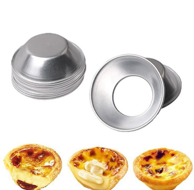 Egg Tart moule de cuisson Moules maison tarte Quiche cuisson Pan biscuits Pudding moule en alliage d'aluminium réutilisable bricolage Outils moule IIA556