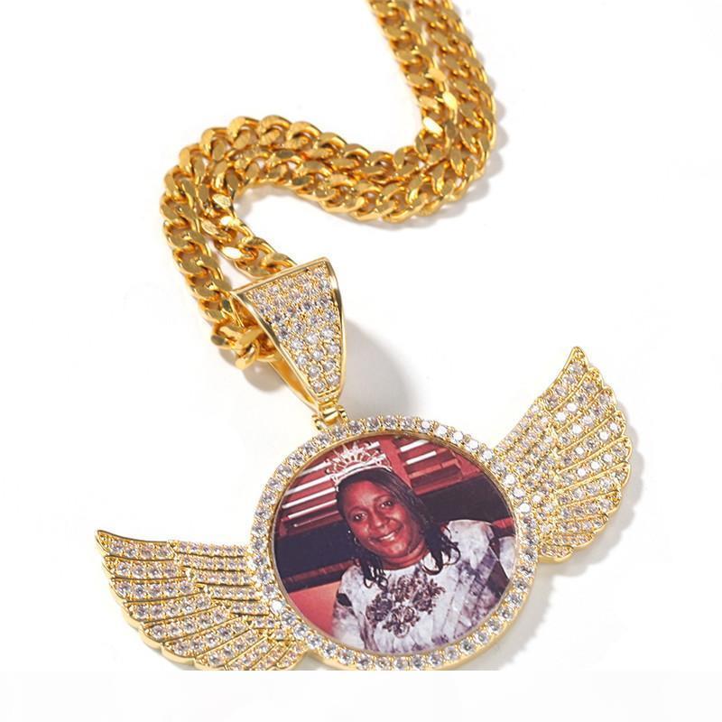 Imagem personalizada Pingente Iced Out Zircon Rpund Soild Voltar ouro prata banhado Mens Hip Hop Jewelry