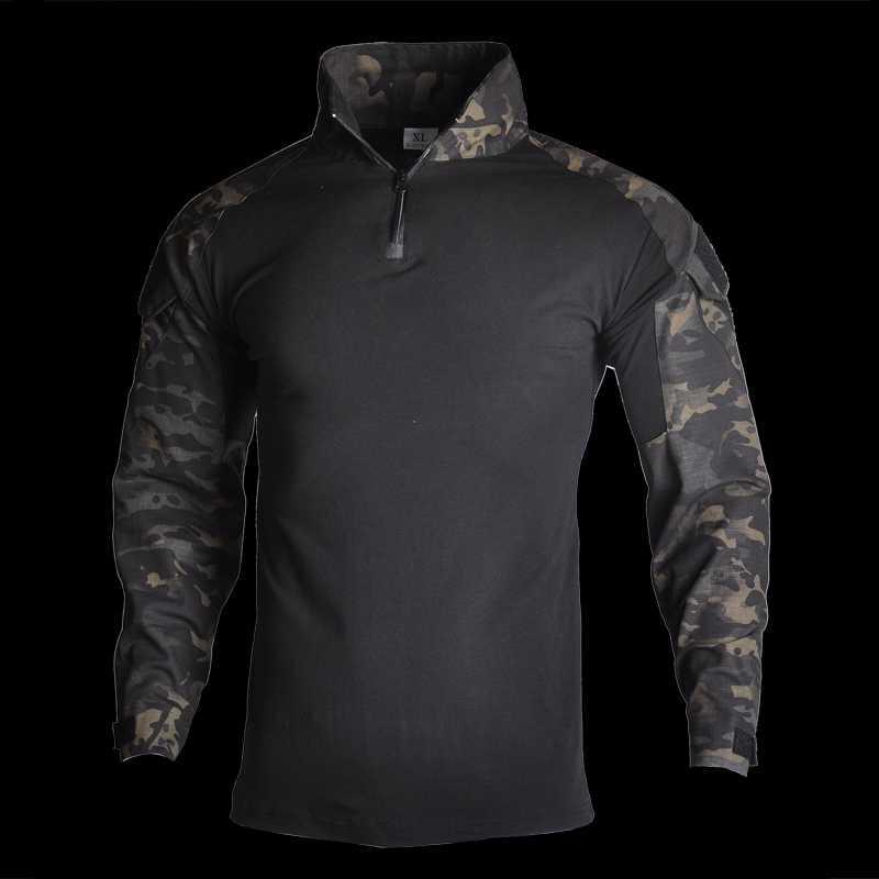 Охотничьи наборы Хань дикий тактический камуфляж форменная одежда костюма мужчины армии американская боевая рубашка + грузовые брюки коленные колодки