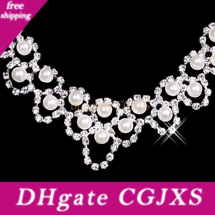 Sistemas de la joyería del Rhinestone de novia Prom Party pendientes del collar nupcial cristalina del desfile de las muchachas accesorios boda del envío 15036