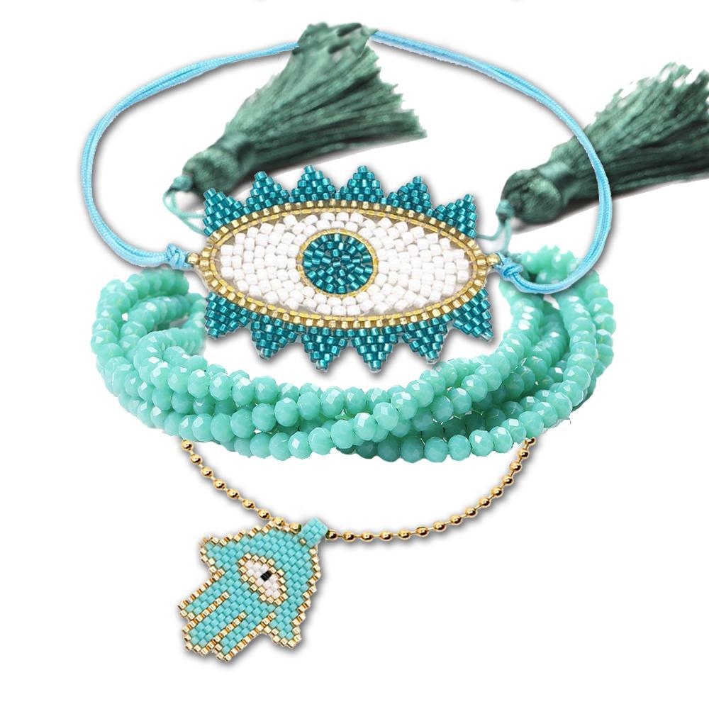 BLUESTAR Браслеты Женщины Сглаз синий браслет кисточкой Chic шариков богемские цепь комплект ювелирных изделий браслет DIY принадлежности