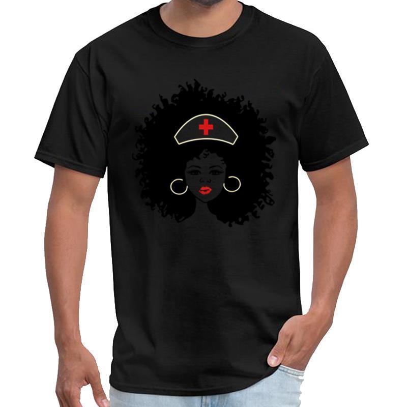 Gráfico Afro enfermeira, enfermeira bonito, Black Nurse, RN, camisa PN camiseta homme wolfenstein camiseta XXXL 4XL 5XL normais