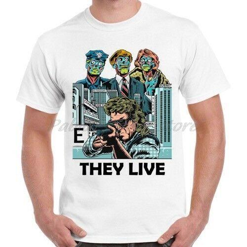 Они живут Триллер Cult Сатирической Фантастики Ужасы Родди Пайпер подарков T Shirt мужчины белая тенниска лето футболка плюс размер 4XL 5XL