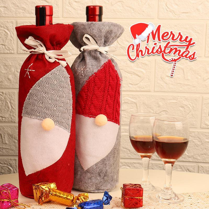 Bottiglia di vino di Natale copertina Babbo Natale vestito dai vestiti di natale Vino Bag di Natale Tavolo da pranzo decorazione creativa di Bottiglia copertura 100pcs T1I2340