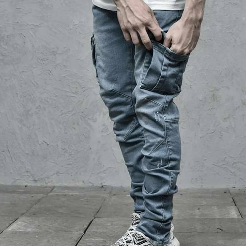 Mens Denim Pants Solid Color Slim Pockets Male Trousers Bottoms Skinny Long Trouser Autumn 2020 Fashion Casual Mens Jeans