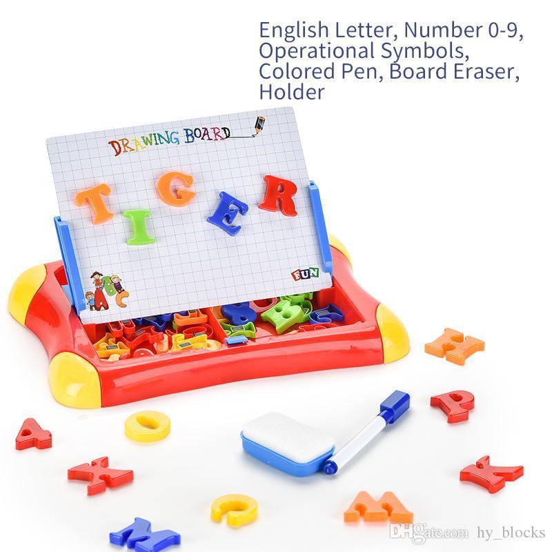 مجلس الكتابة المغناطيسي رسم لوحة لوحي لوحة لعب كيد ملون مجموعة الأطفال الأبجدية عدد الأطفال هدية التعليمية
