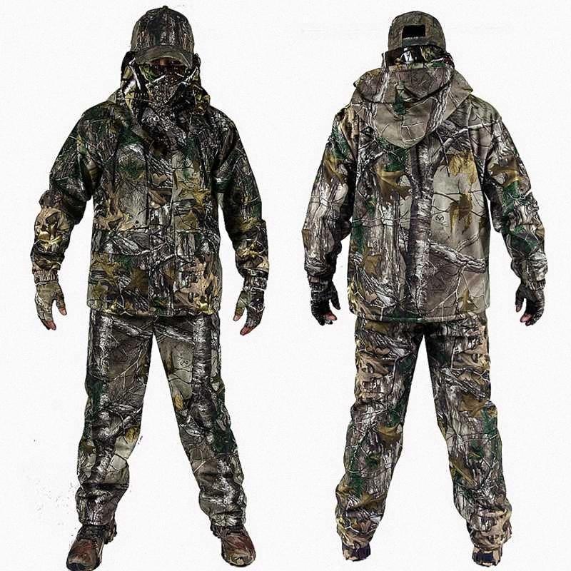 Mens Outdoor Bionic camuflagem roupas de caça roupa com lã Ghillie Suit Fardas Multicam Especial de Combate Avcilik Giyim 69DR #