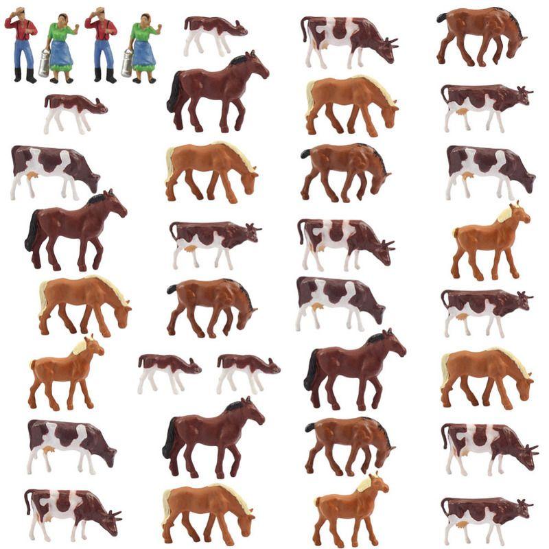 AN8706 36PCS 1:87 Bien peint des animaux de ferme Vaches Chevaux Figures Echelle HO NOUVEAU Paysage Mise en page Paysage