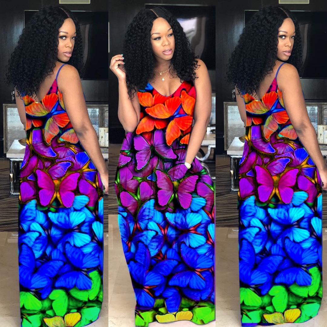 F2308 kadın gökkuşağı elbise Sokak chao liu feng F2308 kadın gökkuşağı elbise kelebek kelebek Sokak chao liu feng fuouq