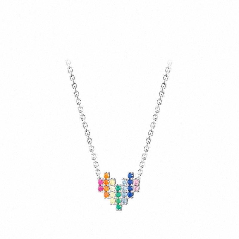 Genuine argento 925 Super brillante ciondolo zircone collane per le donne da sposa gioielli U1Gw #